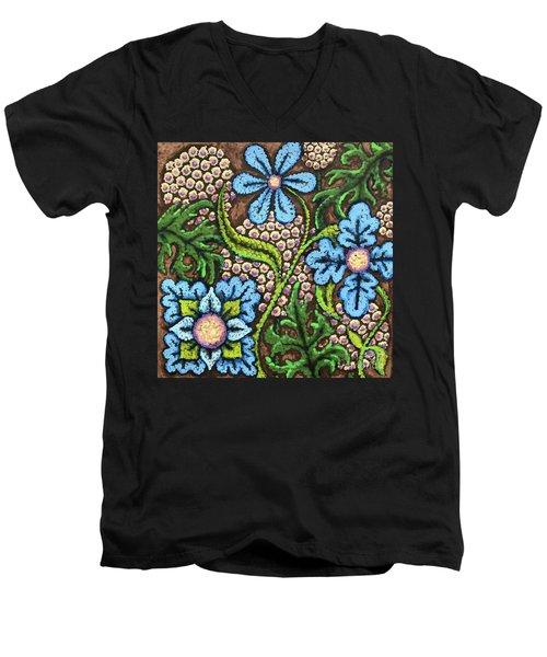 Brown And Blue Floral 2 Men's V-Neck T-Shirt