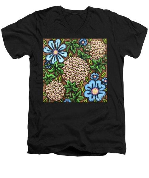 Brown And Blue Floral 3 Men's V-Neck T-Shirt