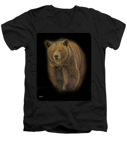 Brown Bear In Darkness Men's V-Neck T-Shirt