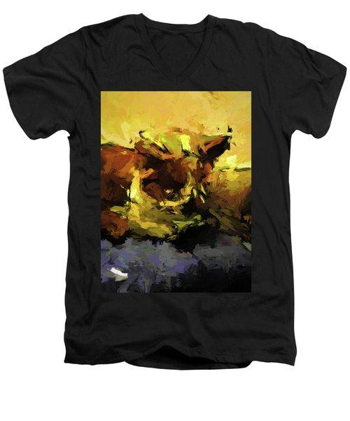 Brown Cat On The Cushion Men's V-Neck T-Shirt