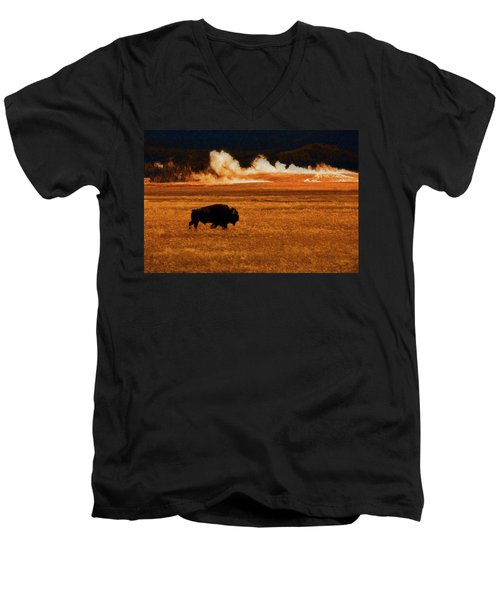 Buffalo Fire Sunset Men's V-Neck T-Shirt