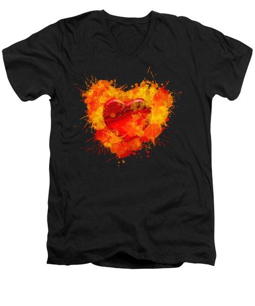 Burning Heart Men's V-Neck T-Shirt