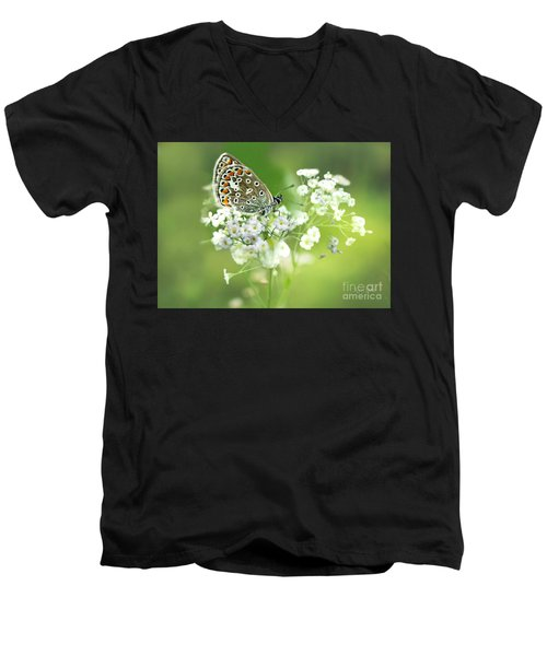 Butterfly On Babybreath Men's V-Neck T-Shirt