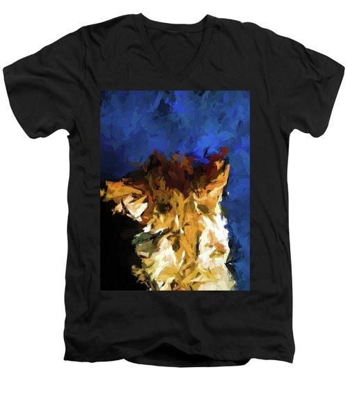 Cat And The Cobalt Blue Wall Men's V-Neck T-Shirt