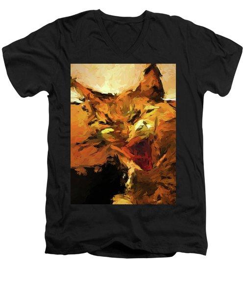 Cat Cathartic Scream Men's V-Neck T-Shirt