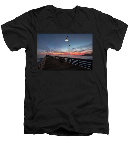 Cayucos Pier Sunset Men's V-Neck T-Shirt