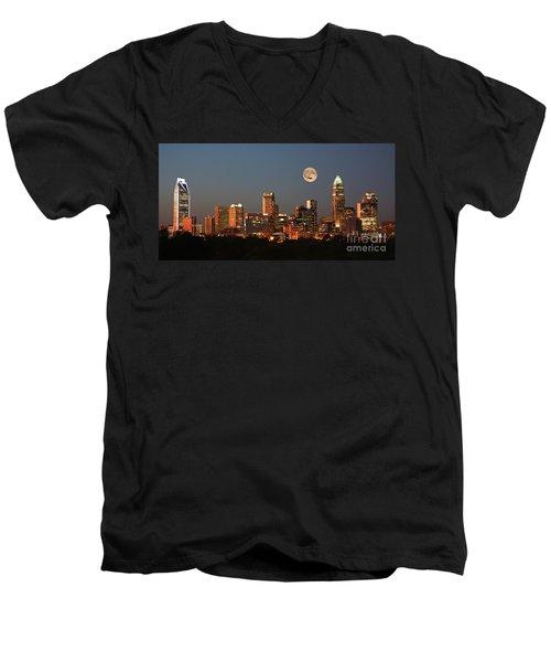 Charlotte City Skyline At Sunset Men's V-Neck T-Shirt