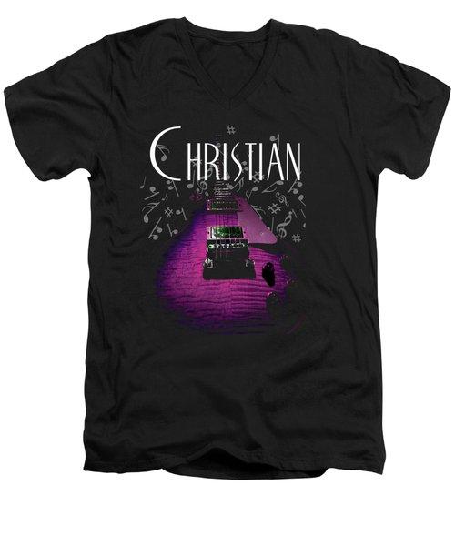 Christian Music Guita Men's V-Neck T-Shirt