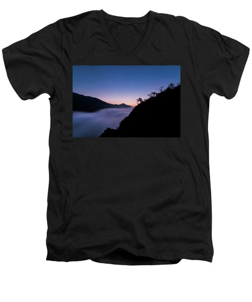 Cloud River Twilight Men's V-Neck T-Shirt