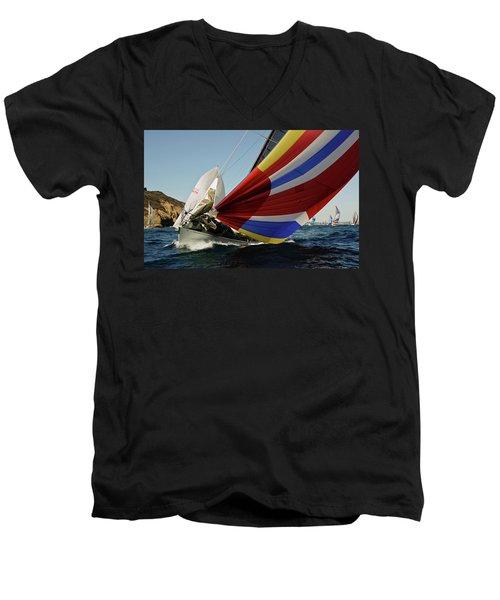 Colorful Spinnaker Run Men's V-Neck T-Shirt