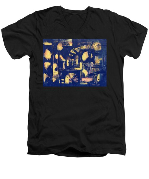 Men's V-Neck T-Shirt featuring the painting Contraption by 'REA' Gallery