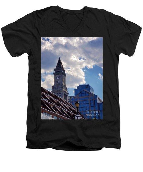 Custom House Clock Tower Men's V-Neck T-Shirt