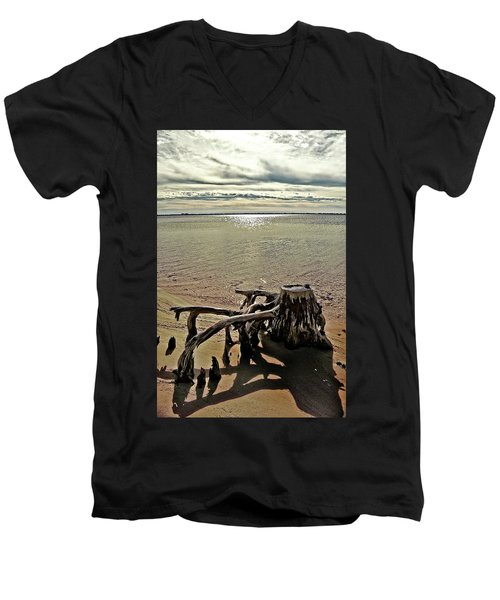 Cypress On The Beach Men's V-Neck T-Shirt