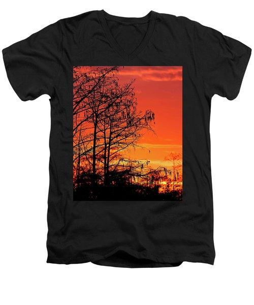 Cypress Swamp Sunset Men's V-Neck T-Shirt