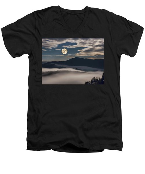 Dance Of Clouds And Moon Men's V-Neck T-Shirt