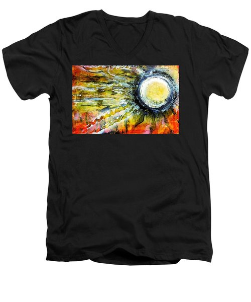 Men's V-Neck T-Shirt featuring the painting Dawn Of A New Sun by 'REA' Gallery