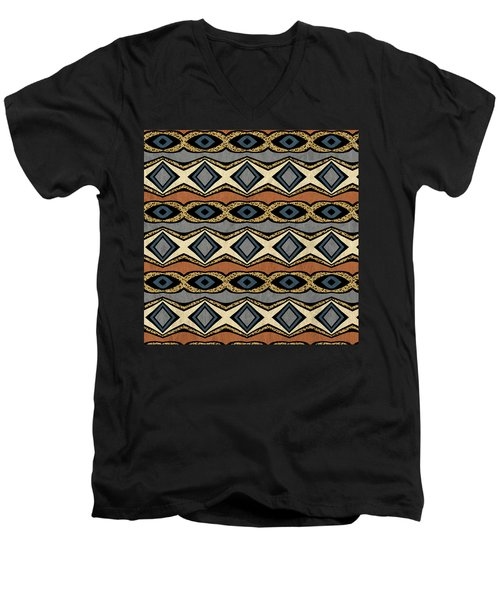 Diamond And Eye Motif With Leopard Accent Men's V-Neck T-Shirt