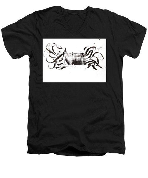 Disruption. White. Calligraphic Abstract Men's V-Neck T-Shirt