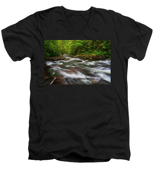 Men's V-Neck T-Shirt featuring the photograph Down The Tellico River by Andy Crawford
