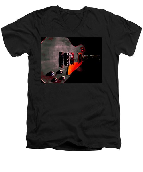 Ebony Relic Guitar Hover Series Men's V-Neck T-Shirt