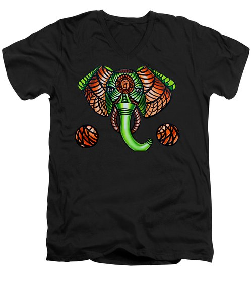 Elephant Head Painting, Sacral Chakra Art, African Tribal Animal Artwork, Zentangle Art Men's V-Neck T-Shirt