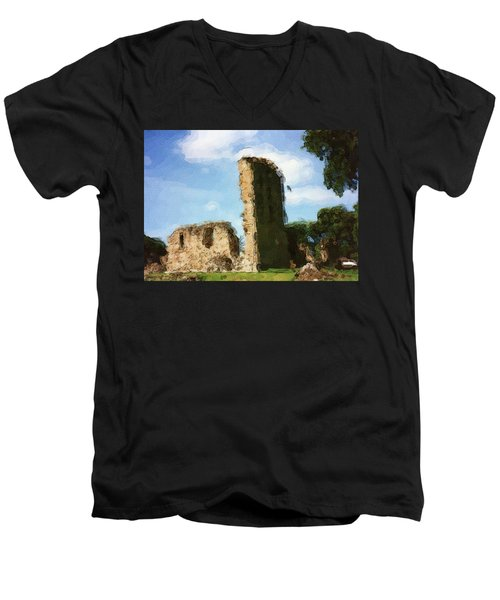 Elgin Cathedral Ruins Painting Men's V-Neck T-Shirt