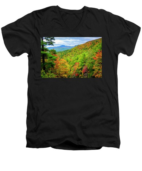 Men's V-Neck T-Shirt featuring the photograph Fall In The Smokies by Andy Crawford