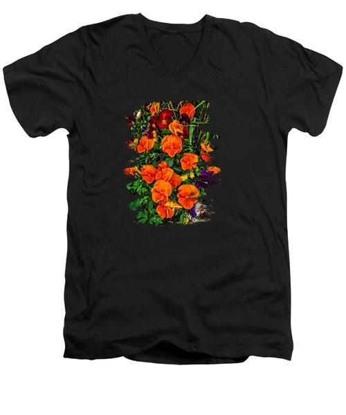 Fall Pansies Men's V-Neck T-Shirt