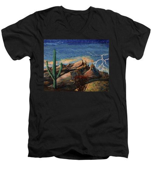 Finger Rock Lightning  Men's V-Neck T-Shirt