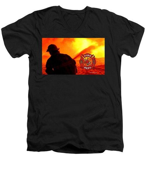 Fire Fighting 6 Men's V-Neck T-Shirt