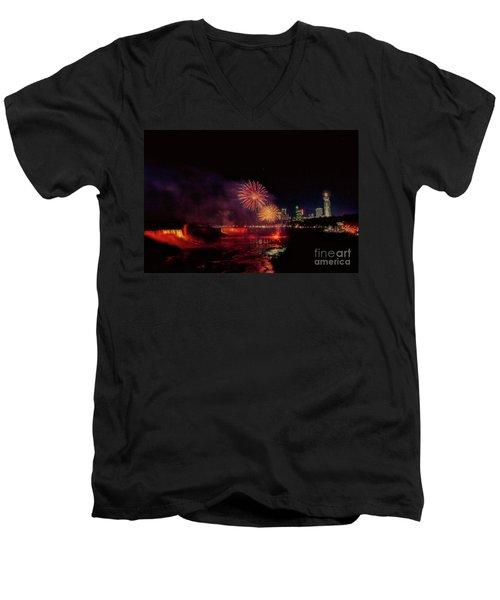 Fireworks Over The Falls. Men's V-Neck T-Shirt