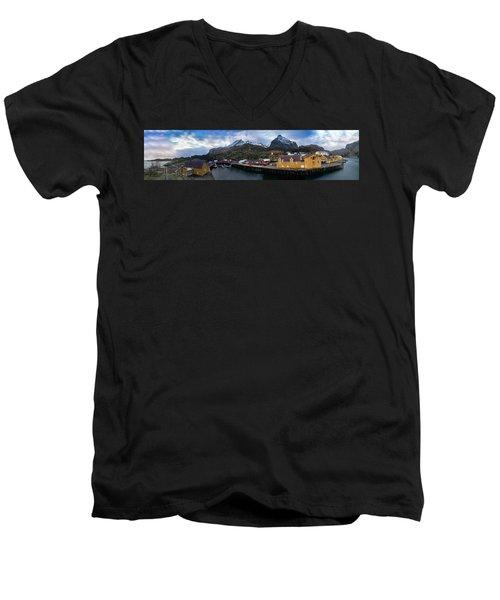 Fishing Village A On Lofoten Men's V-Neck T-Shirt