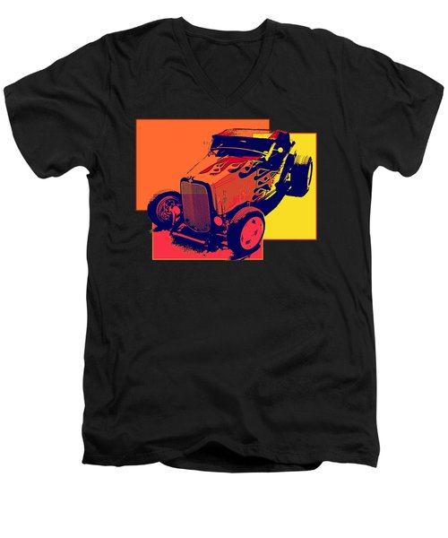 Flaming Hot Rod Men's V-Neck T-Shirt