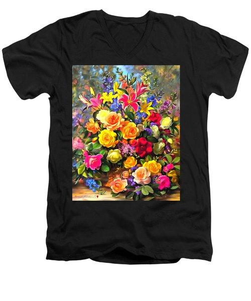 Floral Bouquet In Acrylic Men's V-Neck T-Shirt