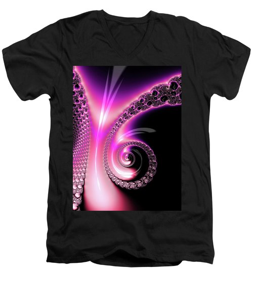 Men's V-Neck T-Shirt featuring the photograph Fractal Spiral Pink Purple And Black by Matthias Hauser