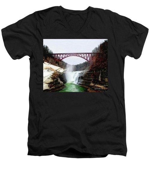 Frletchworth Railroad And Falls Men's V-Neck T-Shirt