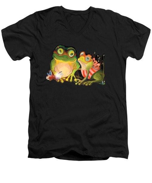 Frogs Overlay  Men's V-Neck T-Shirt