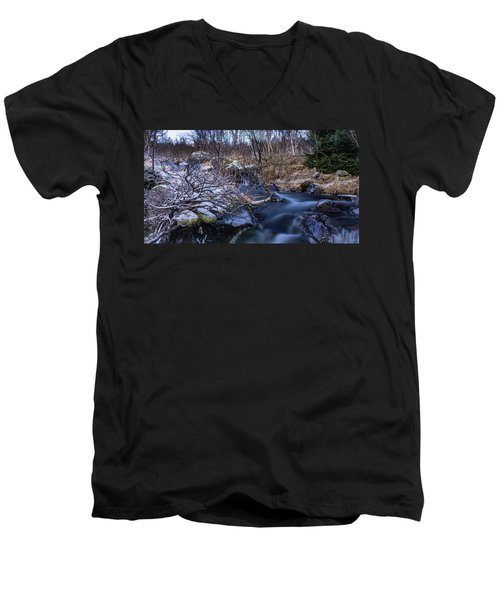 Frozen River And Winter In Forest Men's V-Neck T-Shirt