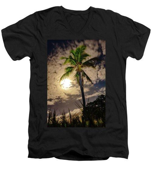Full Moon Palm Men's V-Neck T-Shirt