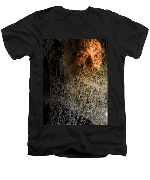 Men's V-Neck T-Shirt featuring the digital art Gandalf - Cobwebby Self-portrait by Attila Meszlenyi