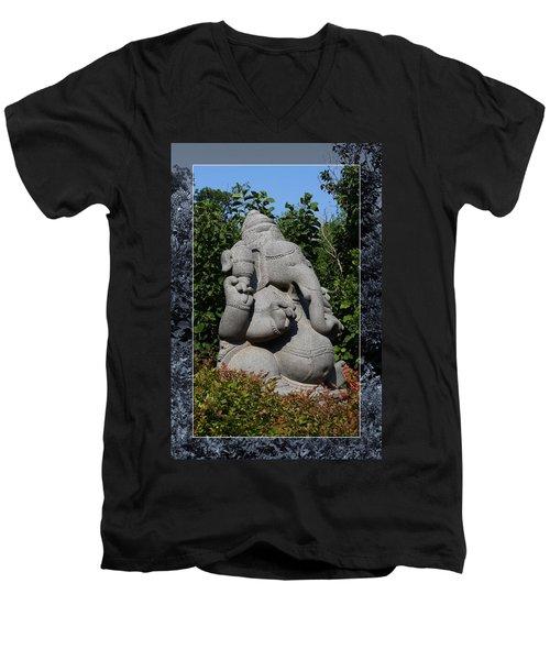Men's V-Neck T-Shirt featuring the photograph Ganesha In The Garden by Debi Dalio