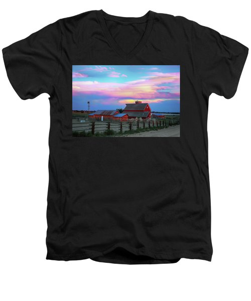 Men's V-Neck T-Shirt featuring the photograph Ghost Horses Pastel Sky Timed Stack by James BO Insogna