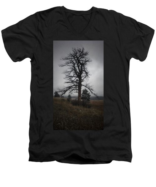 Men's V-Neck T-Shirt featuring the photograph Ghostly Snag by Dan Miller