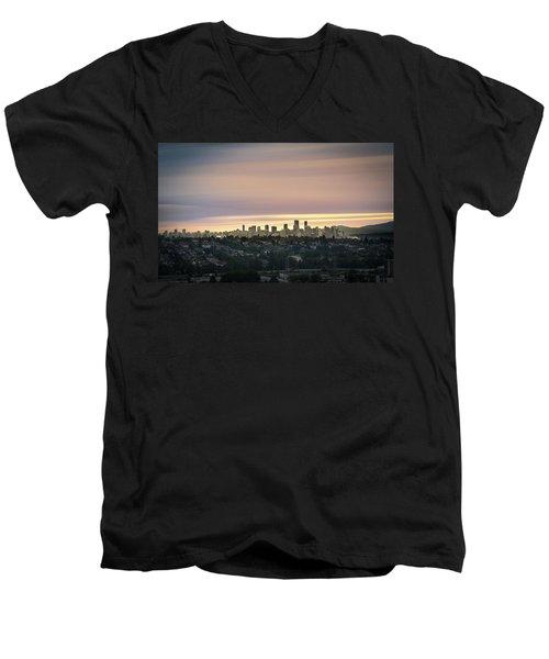 Gloden Sky On Vancouver Men's V-Neck T-Shirt