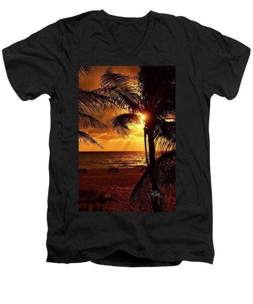 Golden Palm Sunrise Men's V-Neck T-Shirt