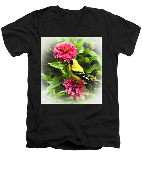 Goldfinches Love Zinnias Men's V-Neck T-Shirt