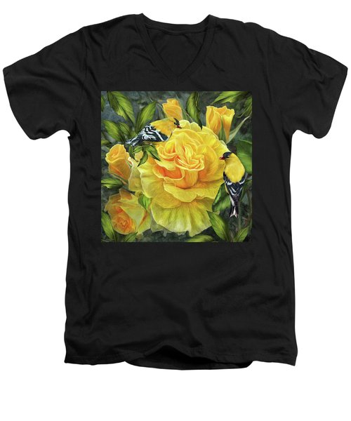 Men's V-Neck T-Shirt featuring the mixed media Goldfinches On Gold Roses by Carol Cavalaris
