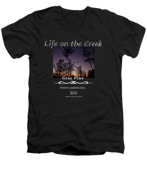 Gray Pine Men's V-Neck T-Shirt