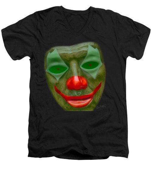 Green Clown Face Men's V-Neck T-Shirt