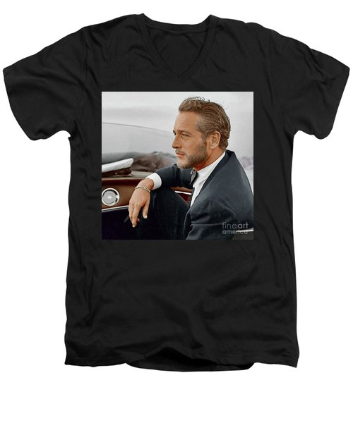 Hand Colored Picture Of Paul Newman Men's V-Neck T-Shirt